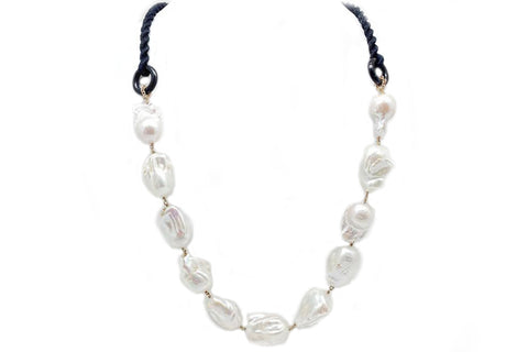 Black Linen Baroque Freshwater Cultured Pearl Necklace by Amlé