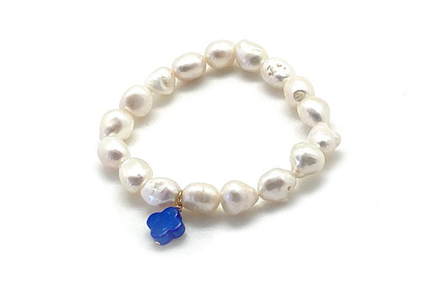 Baroque Freshwater Cultured Pearl & Lapis Charm Bracelet