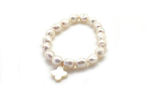 Baroque Freshwater Cultured Pearl & Mother of Pearl Charm Bracelet