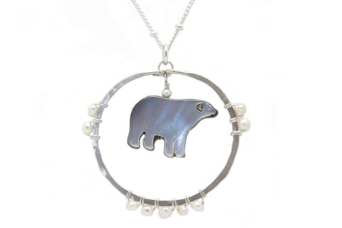 Carved Mother of Pearl Bear Spirit Animal Necklace