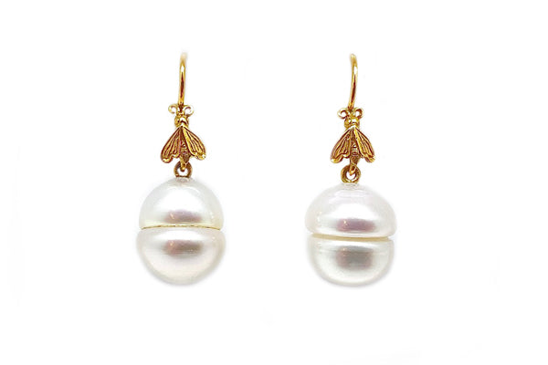 South Sea Cultured Pearl Bee Earrings