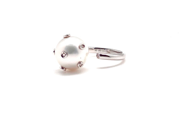 South Sea Cultured Pearl & Diamond Cuff Ring
