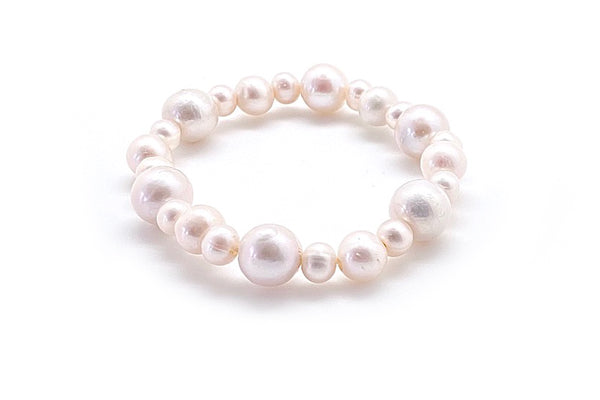 Big Little Freshwater Cultured Pearl Elastic Bracelet