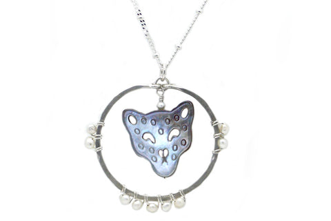 Carved Mother of Pearl Cougar Spirit Animal Necklace