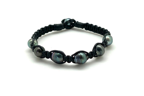 Tahitian Cultured Pearl Black Leather Macrame Bracelet