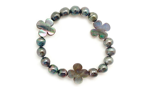 Tahitian Cultured Pearl & Mother of Pearl Quatrefoil Bracelet