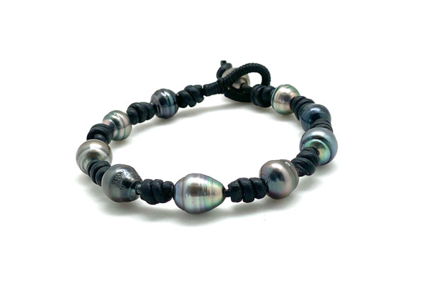 Black Leather Tahitian Cultured Pearl Multiple Pearl Bracelet