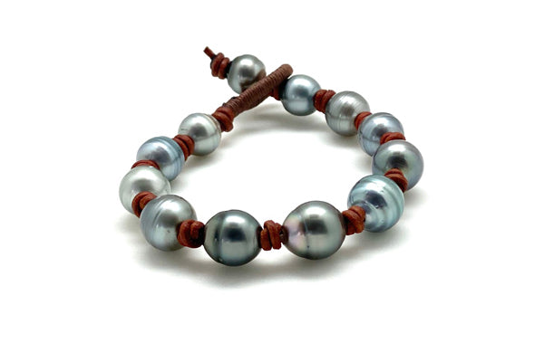 Brown Leather Tahitian Cultured Pearl Multi Pearl Bracelet