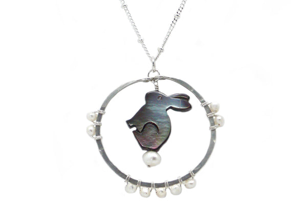 Carved Mother of Pearl Bunny Spirit Animal Necklace