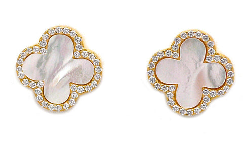 Mother of Pearl & Crystal Quatrefoil Stud Earrings - Assorted Metal Colors