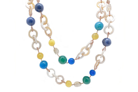 Multi Gem Long Necklace by Amlé