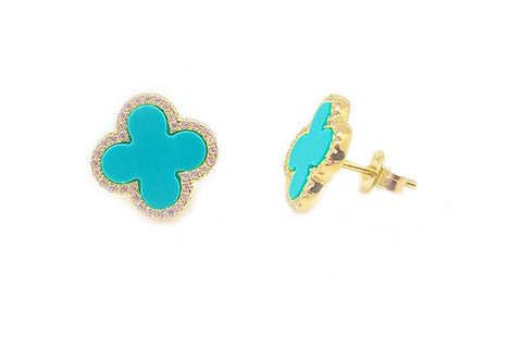 Simulated Turquoise & CZ Quatrefoil Studs - Assorted Colors