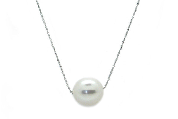 Oval Freshwater Cultured Pearl Slider Necklace