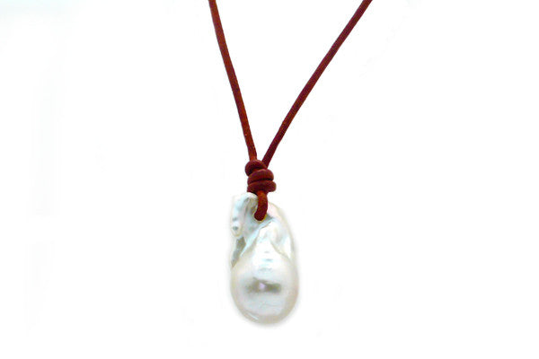Large Baroque Freshwater Cultured Pearl Leather Necklace