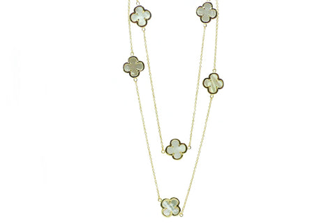Long Mother of Pearl Quatrefoil Station Necklace - Assorted Metal Colors