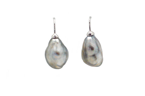 South Sea Keshi Pearl Wire Earrings