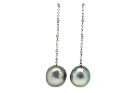 Large Baroque Tahitian Cultured Pearl & Diamond Chain Earrings