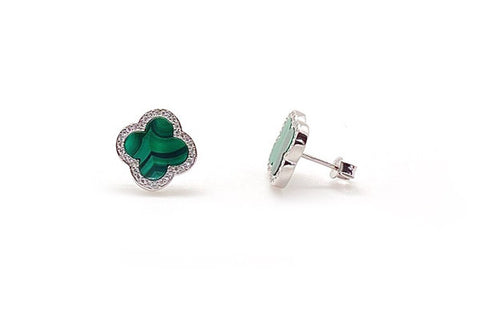 Carved Malachite & CZ Quatrefoil Studs