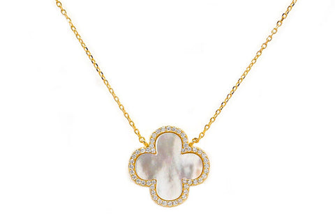 Carved White Mother of Pearl & CZ Quatrefoil Necklaces - Assorted Sizes