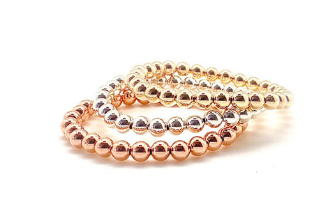 6mm Gold Bead Elastic Bracelets - Assorted Metal Colors