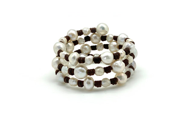 Brown Leather Multi Wrap Freshwater Cultured Pearl Bracelet