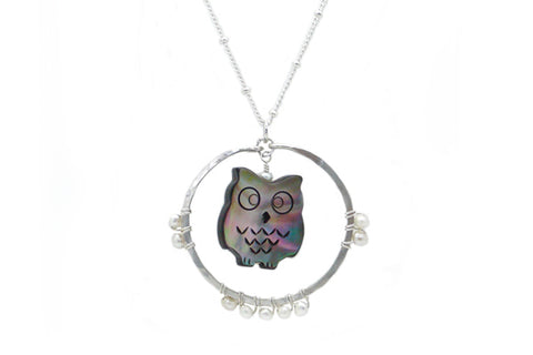 Carved Mother of Pearl Owl Spirit Animal Necklace