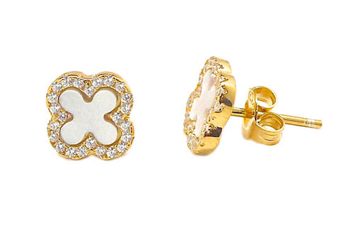 Petite Mother of Pearl & CZ Quatrefoil Stud Earrings - Assorted Metal & Mother of Pearl Colors