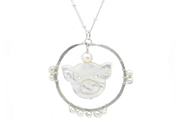 Carved Mother of Pearl Pig Spirit Animal Necklace
