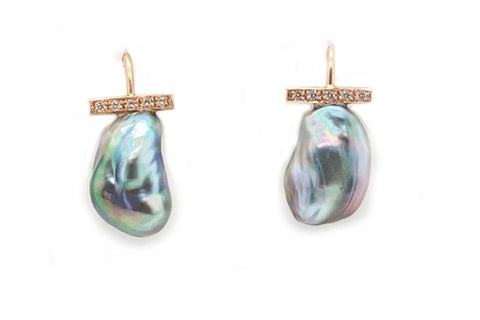 Tahitian Keshi Pearl & Diamond Dangle Earrings