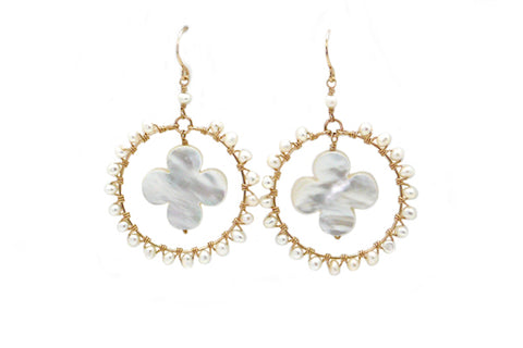 Freshwater Cultured Pearl & Mother of Pearl Quatrefoil Hoops