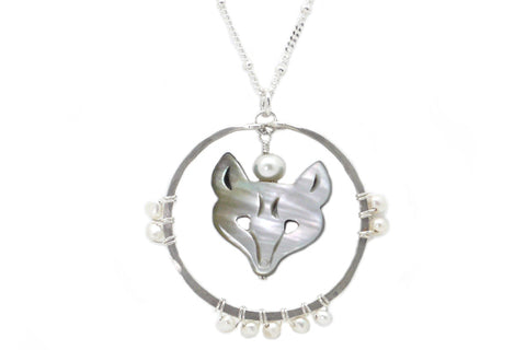 Carved Mother of Pearl Wolf Spirit Animal Necklace