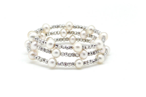 Sterling Silver Freshwater Cultured Pearl Wrap Bracelet