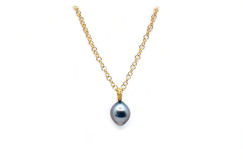 Tahitian Cultured Pearl Granulated Pendant On Chain