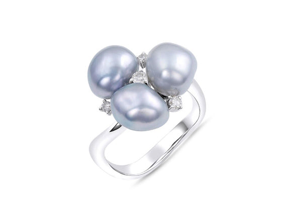 Tahitian Keshi Pearl & Diamond Ring