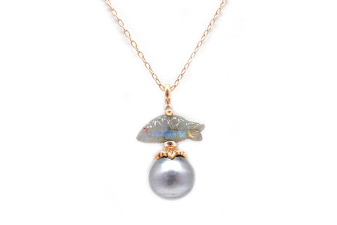 Tahitian Cultured Pearl & Labradorite Pendant on Chain