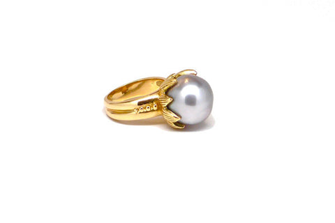 Tahitian Cultured Pearl Lotus Ring