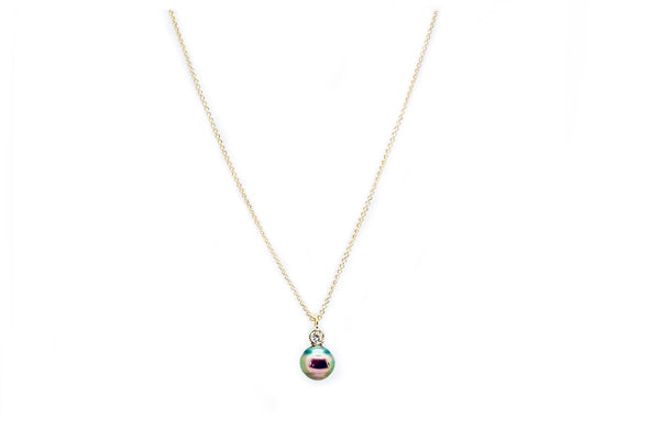 Petite Tahitian Cultured Pearl & Diamond Necklace - Assorted Metal Colors