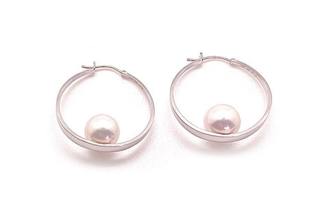 South Sea Cultured Pearl Round Hoops - Assorted Metal Colors