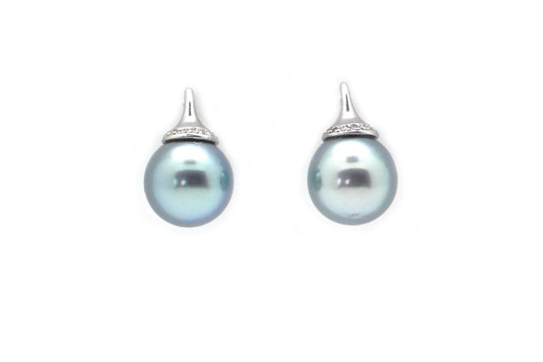 "Tahitian Cultured Pearl & Diamond ""FakeOut"" Earrings"