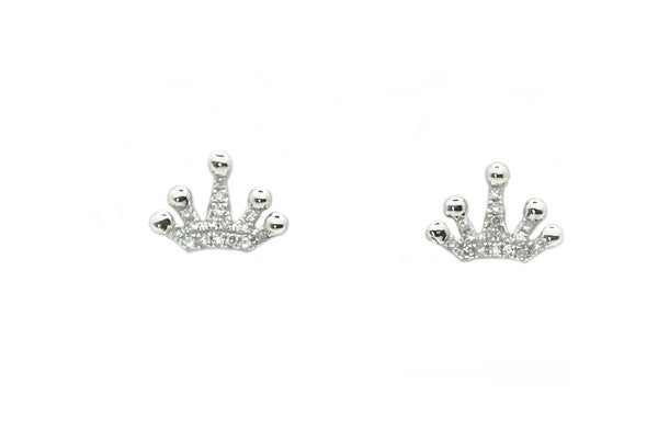 Diamond Crown Stud Earrings - Assorted Metal Colors