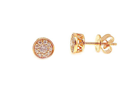 Diamond Cluster Stud Earrings - Assorted Metal Colors