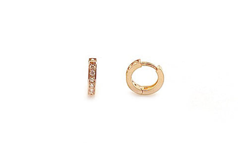 Petite Diamond Huggie Hoop Earrings - Assorted Metal Colors