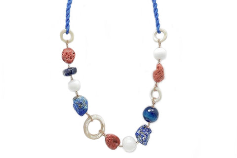 Blue Linen  Multi Gem Necklace by Amlé
