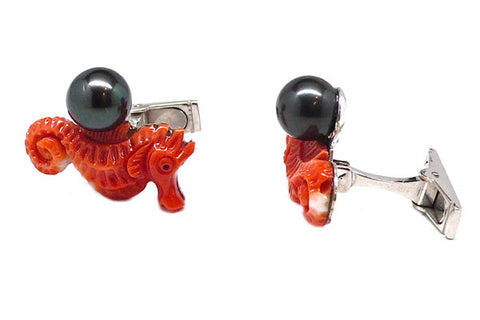 Coral & South Sea Cultured Pearl Cuff Links