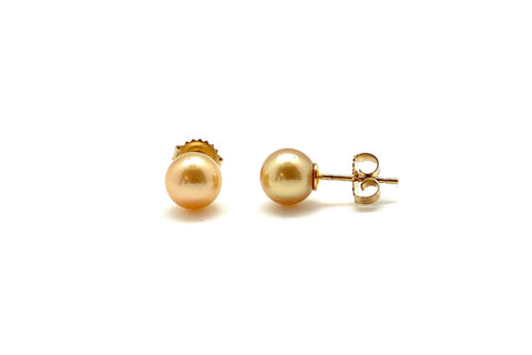 Golden South Sea Cultured Pearl Studs