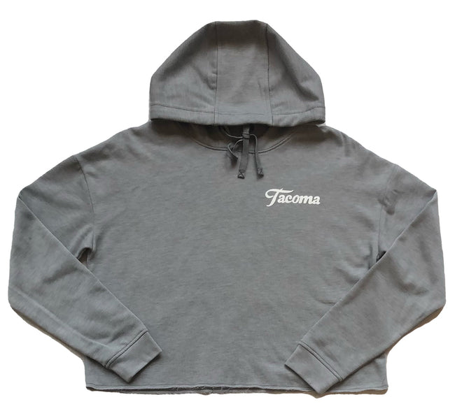 TACOMA SCRIPT WOMEN'S CROPPED FLEECE - GREY