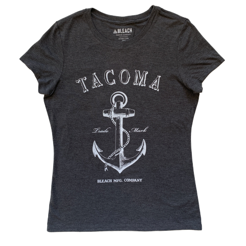 ANCHOR WOMEN'S TEE - CHARCOAL/WHITE
