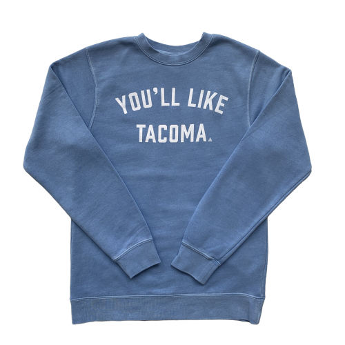 YOU'LL LIKE TACOMA SCRIPT PIGMENT CREW - LIGHT BLUE