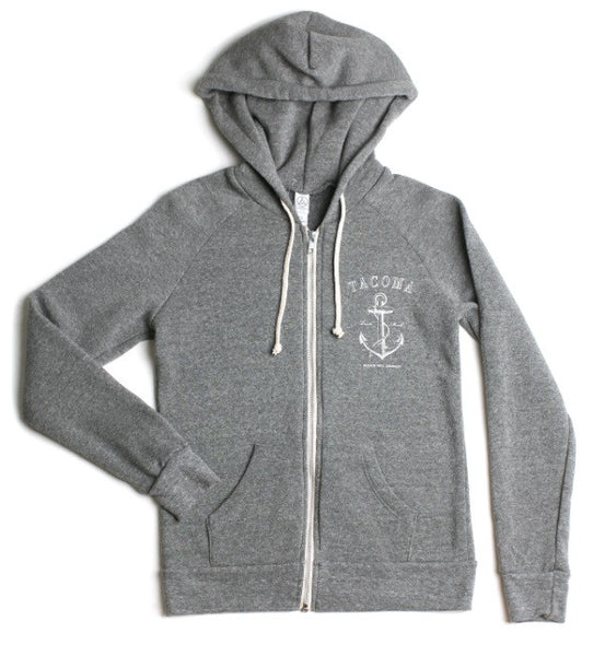 Bleach Tacoma Anchor Zip Hoodie | Grey White