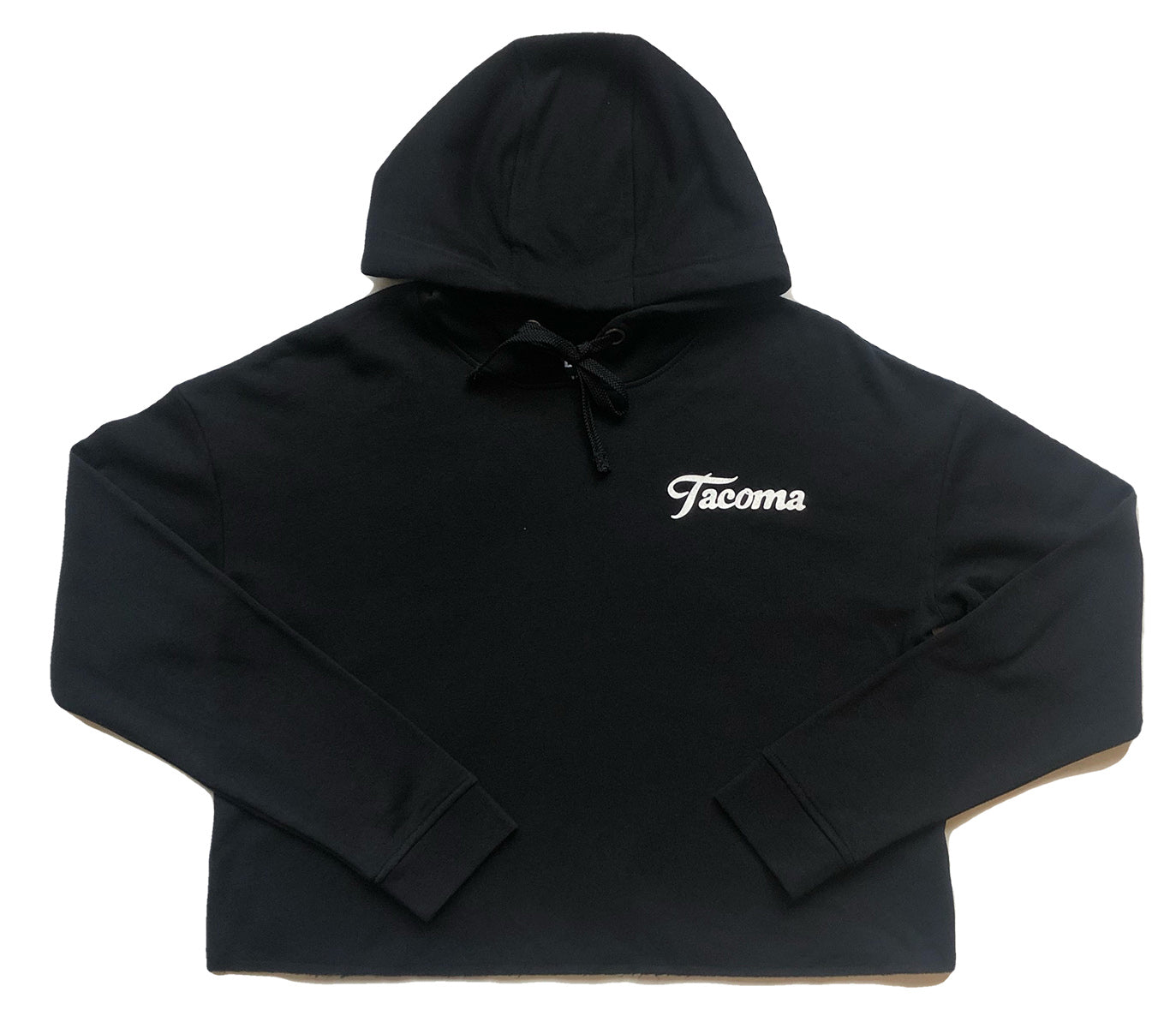 TACOMA SCRIPT CROPPED FLEECE- BLACK